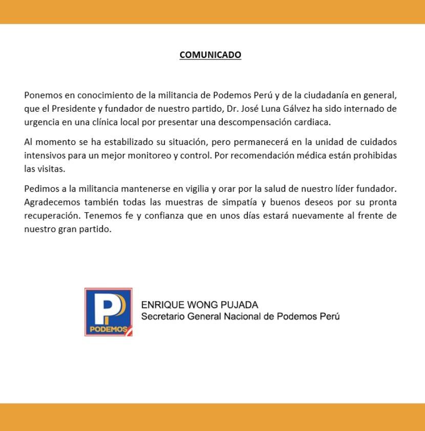 Al respecto, el partido Podemos emitió un comunicado